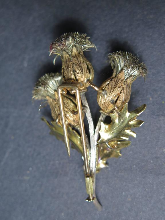 Mario Buccellati Gold and Silver Thistle Brooch For Sale 1