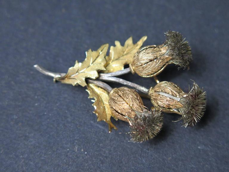 Mario Buccellati Gold and Silver Thistle Brooch In Good Condition For Sale In Austin, TX