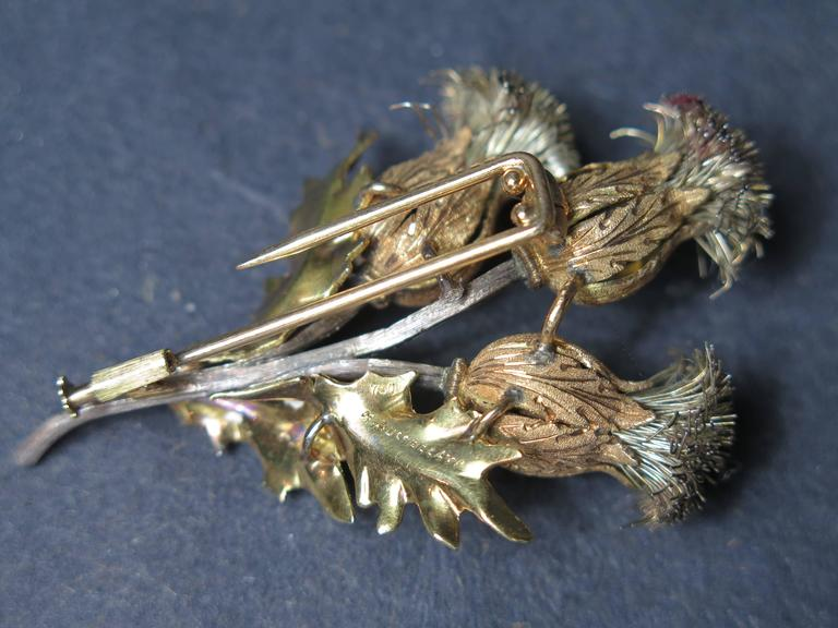 Mario Buccellati Gold and Silver Thistle Brooch For Sale 2