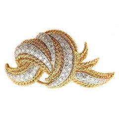 1960's Diamond, 18 Karat Yellow Gold and Platinum Brooch