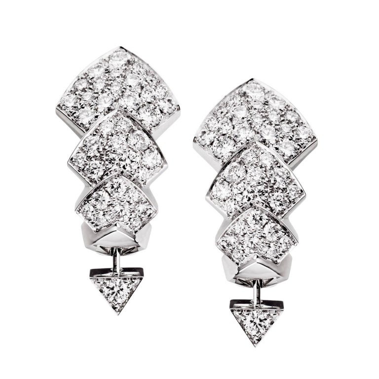 Akillis Python Earrings 18 Karat White Gold White Diamonds