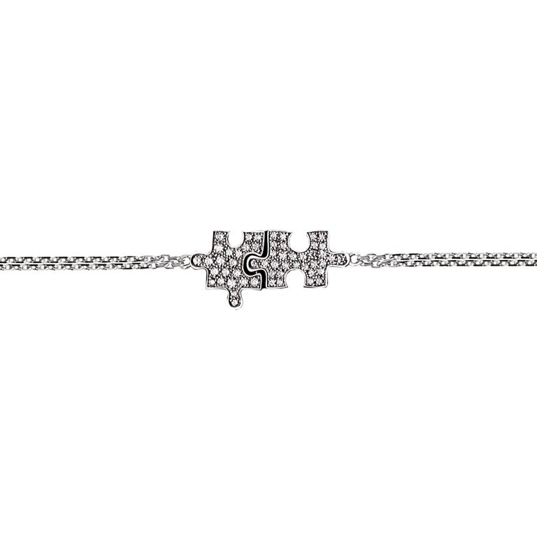 Akillis Puzzle Duo Bracelet 18 Karat White Gold Full Set White Diamonds