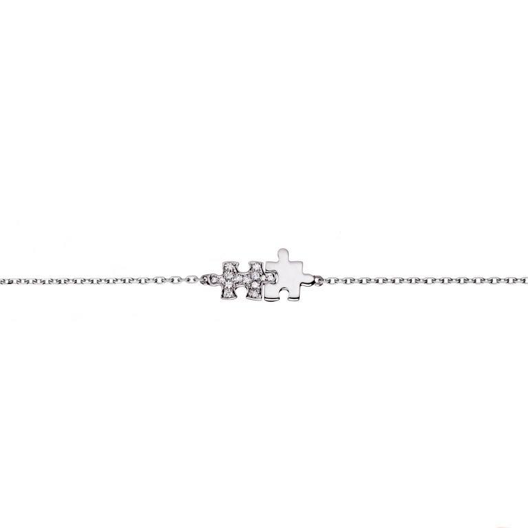 Akillis Mini Puzzle Duo Bracelet 18 Karat White Gold Half-Set White Diamonds