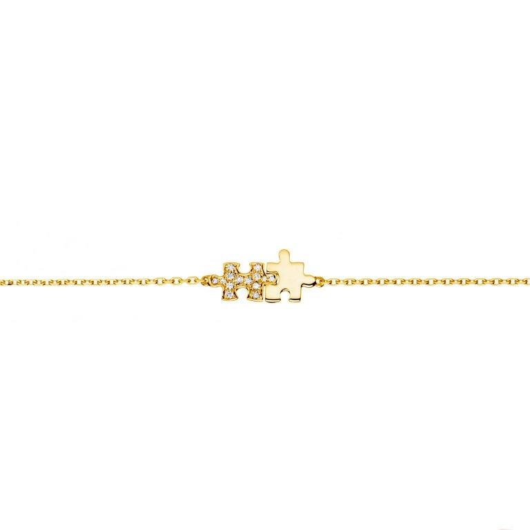 Akillis Mini Puzzle Duo Bracelet 18 Karat Gold Half Set Diamonds Gold Chain
