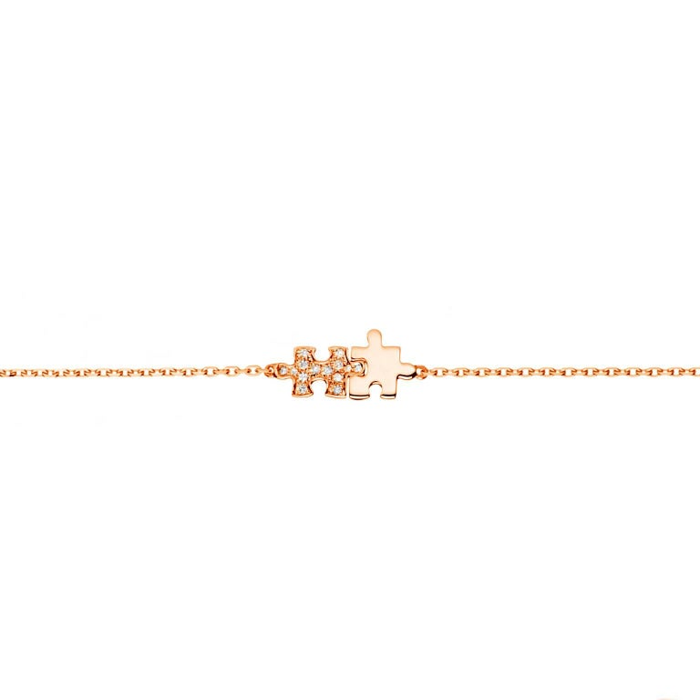 Akillis Mini Puzzle Duo Bracelet 18 Karat Gold Half Set White Diamond Gold Chain
