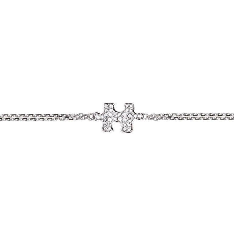 Akillis Puzzle Solo Bracelet 18 Karat White Gold White Diamonds