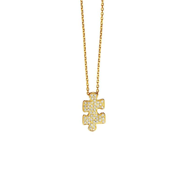 Akillis Mini Puzzle Pendant 18 Karat Yellow Gold White Diamonds For Sale