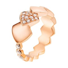 Akillis Python Tatou Ring 18 Karat Rose Gold Half-Set White Diamonds