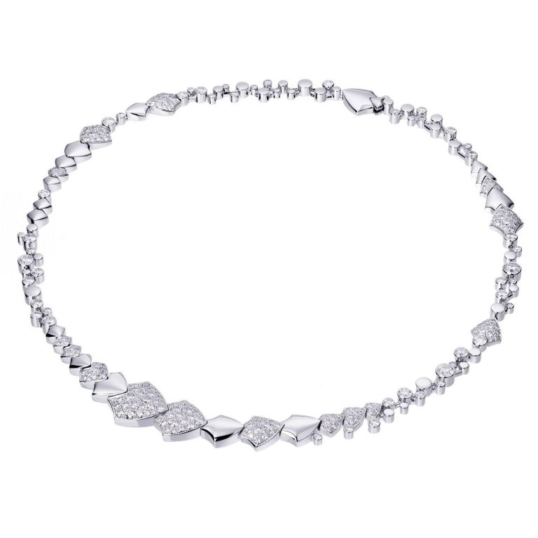 Akillis High Jewelry Python Necklace 18 Karat White Gold Half-Set White Diamonds 1