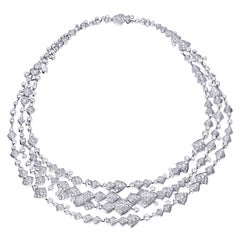 Akillis High Jewelry Python Three Ranges Necklace 18 Karat Gold White Diamonds