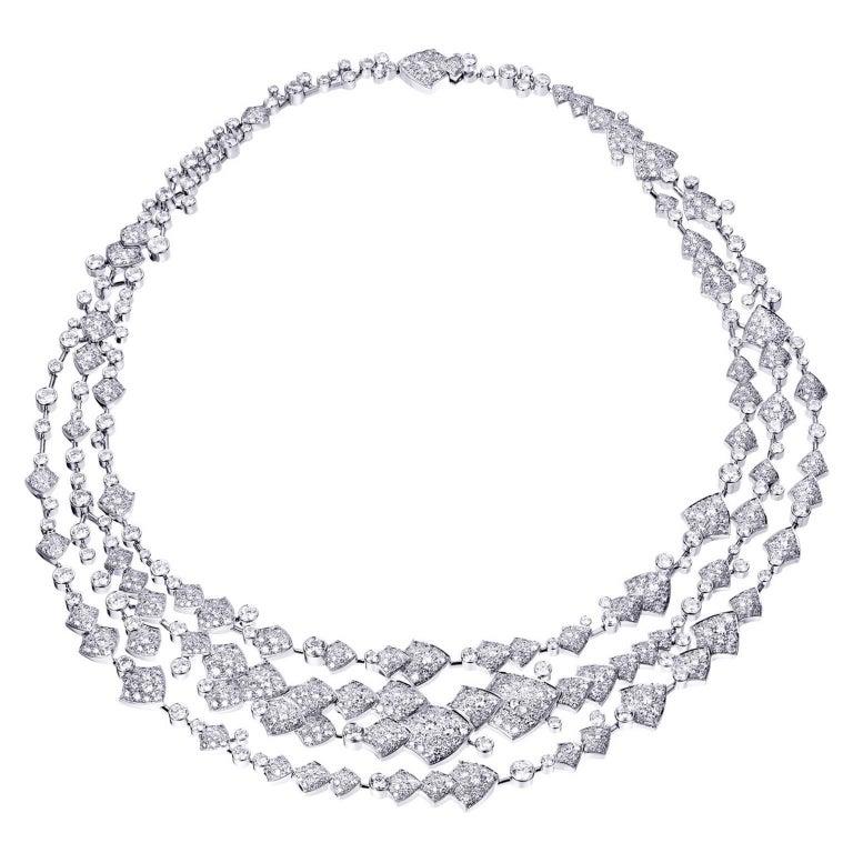 Akillis High Jewelry Python Three Ranges Necklace 18 Karat Gold White Diamonds