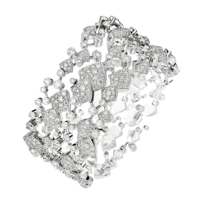 Akillis High Jewelry Python Three Ranges Bracelet 18 Karat Gold White Diamonds For Sale