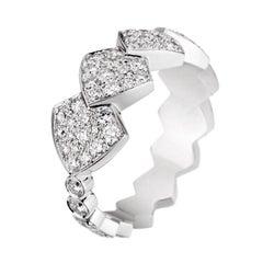 Akillis Python Tatou Ring 18 Karat White Gold White Diamonds