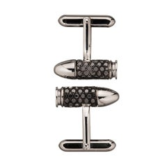 Akillis Bang Bang Cufflinks 18 Karat White Gold Black Diamonds