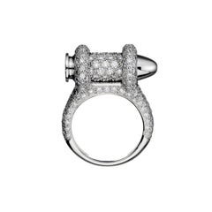 Akillis Bang Bang Bullet Ring 18 Karat White Gold White Diamonds