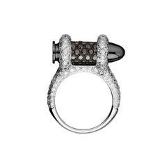 Akillis Bang Bang Bullet Ring 18 Karat White Gold White and Black Diamonds