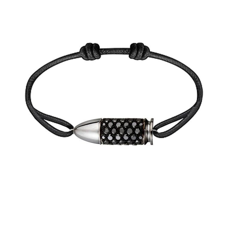 Akillis Bang Bang Charm Bracelet 18 Karat White Gold Black Diamonds Cotton Cord