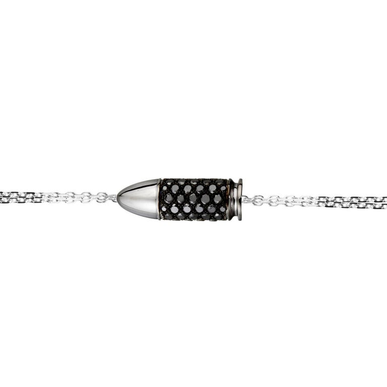 Akillis Bang Bang Charm Bracelet 18 Karat White Gold Black Diamonds