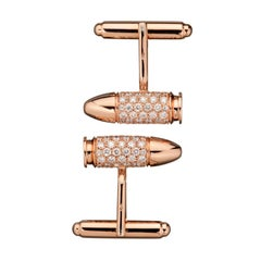 Akillis Bang Bang Cufflinks 18 Karat Rose Gold White Diamonds