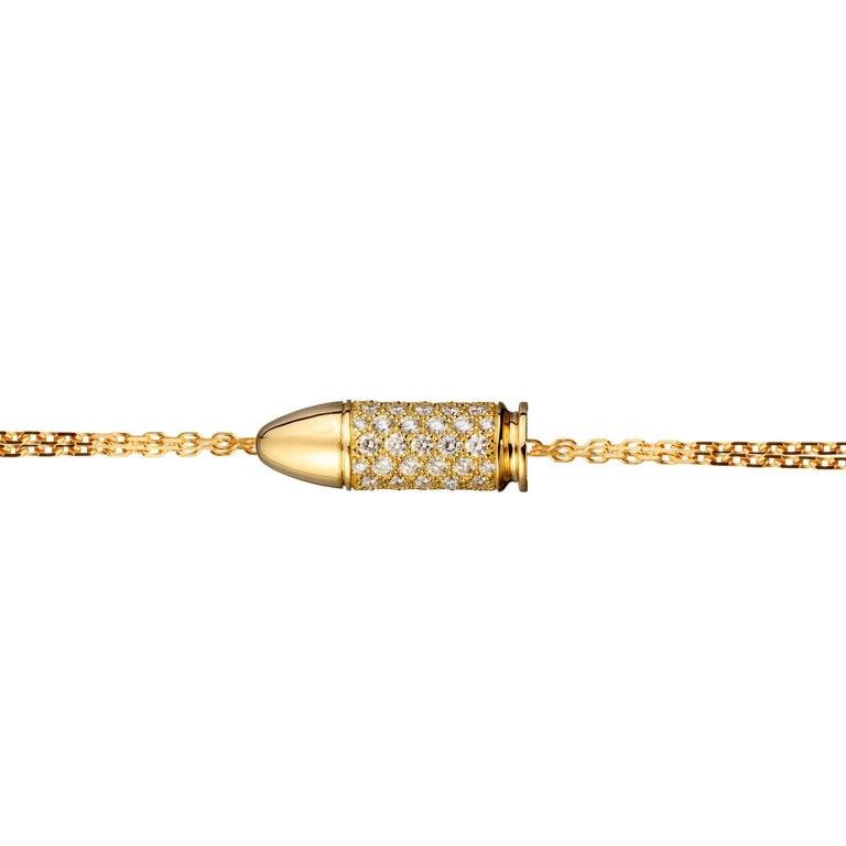 Akillis Bang Bang Charm Bracelet 18 Karat Gold White Diamonds on Gold Chain