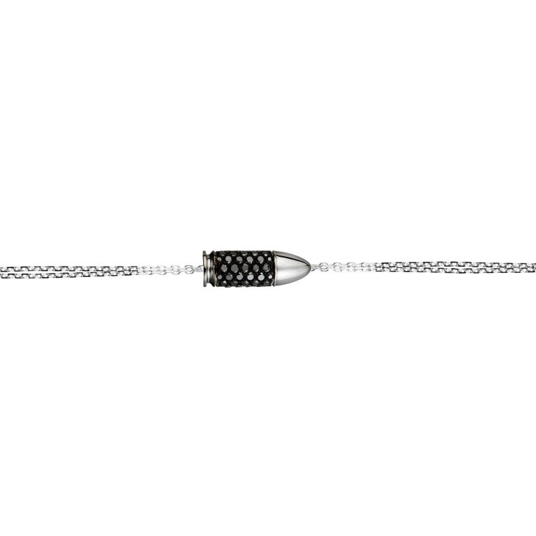 Akillis Mini Bang Bang Charm Bracelet 18 Karat Gold Black Diamonds Gold Chain For Sale