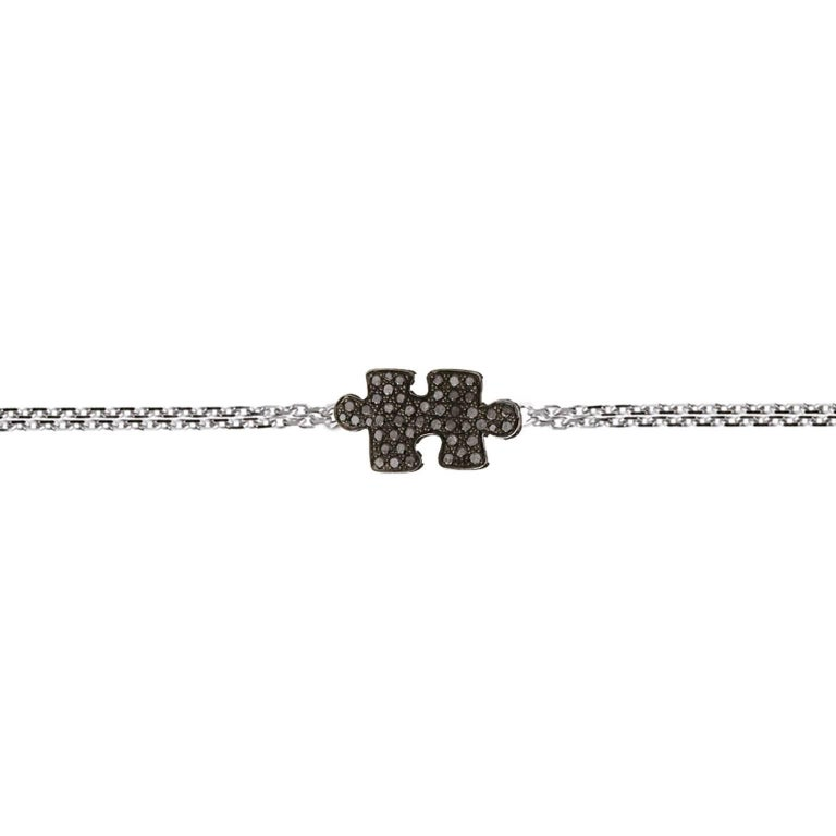 Akillis Puzzle Solo Bracelet 18 Karat White Gold Black Diamonds Double Chain