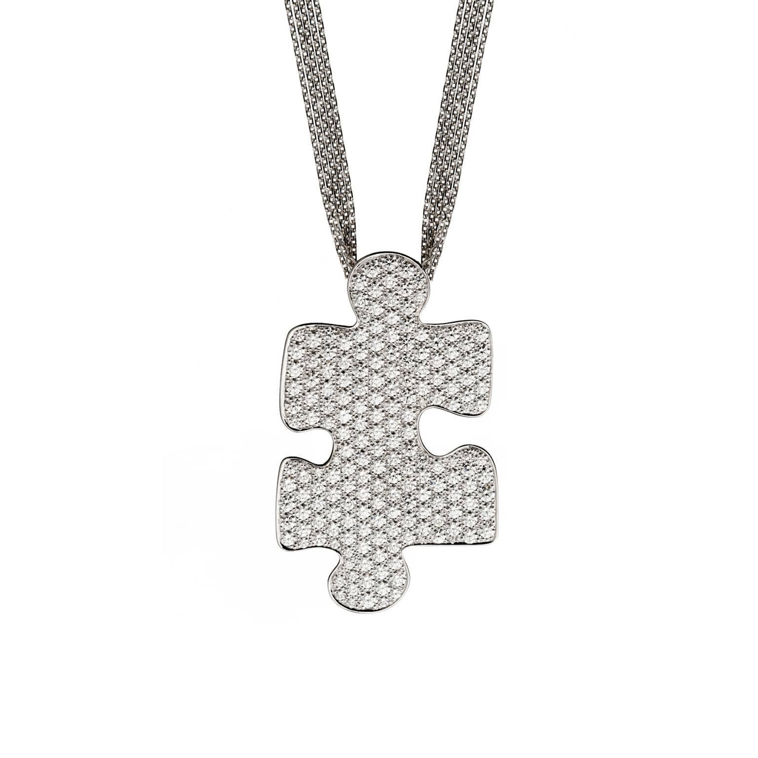 Akillis Puzzle White Gold With Diamonds Medium Pendant JUQ4jn
