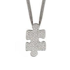 Akillis Puzzle Pendant 18 Karat White Gold White Diamonds Large Size Gold Chain