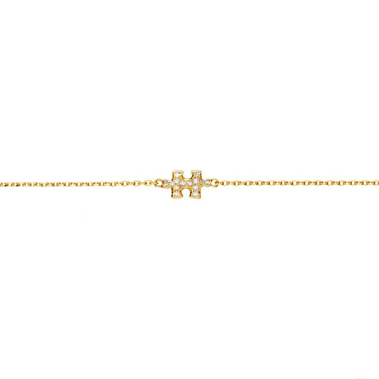 Akillis Mini Puzzle Charm Solo Bracelet 18 Karat Yellow Gold White Diamonds
