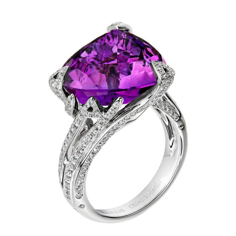 Akillis Cruella Ring 18 Karat White Gold Amethyst White Diamonds