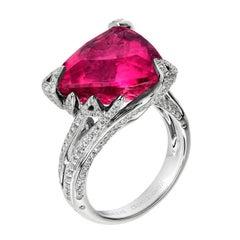 Akillis Cruella Ring 18 Karat White Gold Rubelite White Diamonds