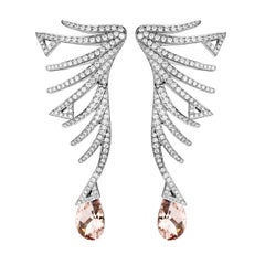 Akillis Cruella Earrings 18 Karat White Gold Morganite White Diamonds