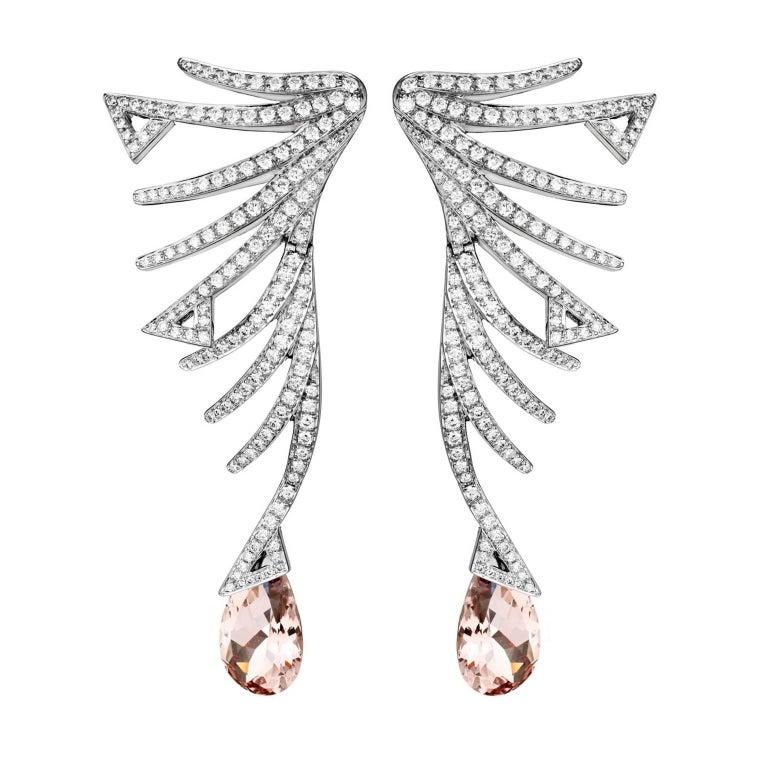 Akillis Cruella Earrings 18 Karat White Gold Morganite White Diamonds