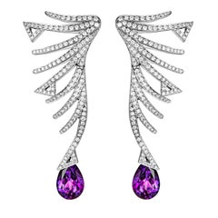 Akillis Cruella Earrings 18 Karat White Gold Amethyst White Diamonds