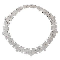 Akillis Puzzle Necklace 18 Karat White Gold White Diamonds