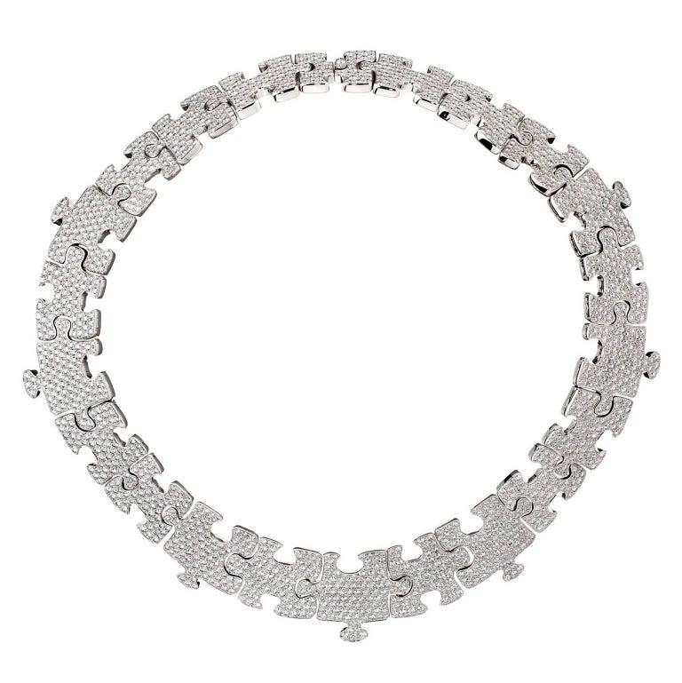 Akillis Puzzle Necklace 18 Karat White Gold White Diamonds For Sale
