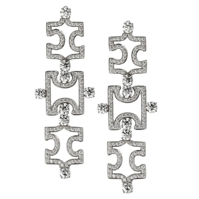 Akillis Puzzle Pendant Earrings 18 Karat White Gold White Diamonds For Sale