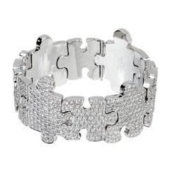 Akillis Puzzle Bracelet 18 Karat White Gold White Diamonds