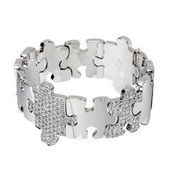 Akillis Puzzle Bracelet 18 Karat White Gold Half-Set White Diamonds