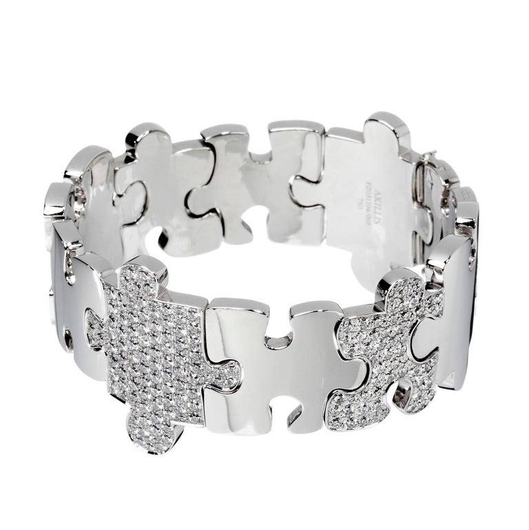 Akillis Puzzle Bracelet 18 Karat White Gold Half-Set White Diamonds For Sale