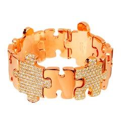 Akillis Puzzle Bracelet 18 Karat Rose Gold Half-Set Brown Diamonds