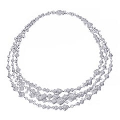 Akillis High Jewellery Python 3 Ranges Necklace 18 Karat Gold White Diamonds