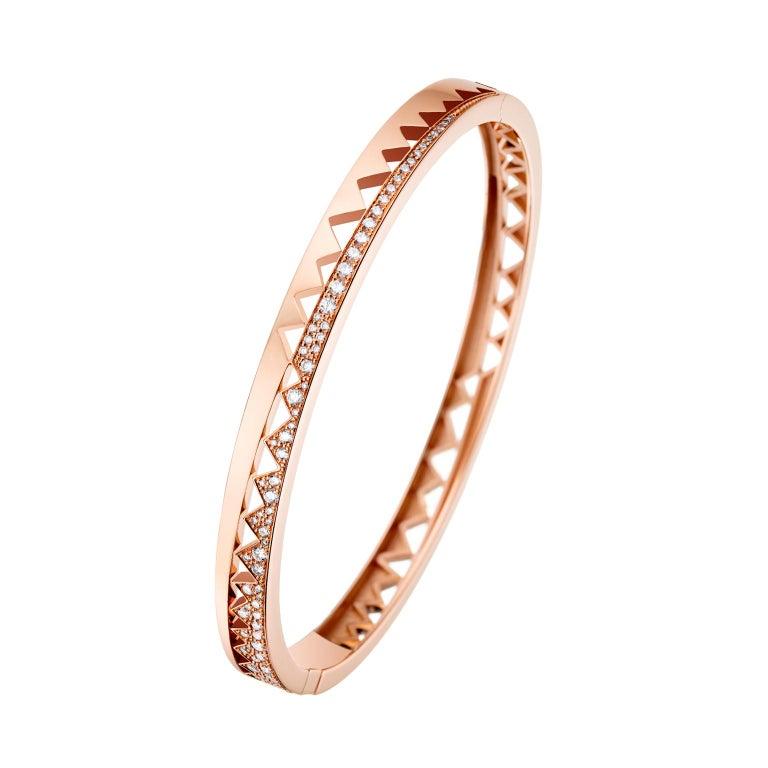 Akillis Capture Me Bracelet 18 Karat Rose Gold Half-Set White Diamonds for Him