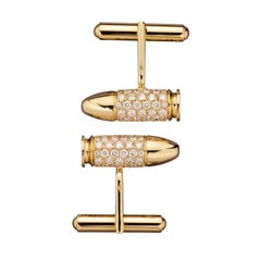 Akillis Bang Bang Cufflinks 18 Karat Yellow Gold White Diamonds