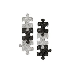 Akillis Puzzle Pendant Earrings 18 Karat White Gold White and Black Diamonds