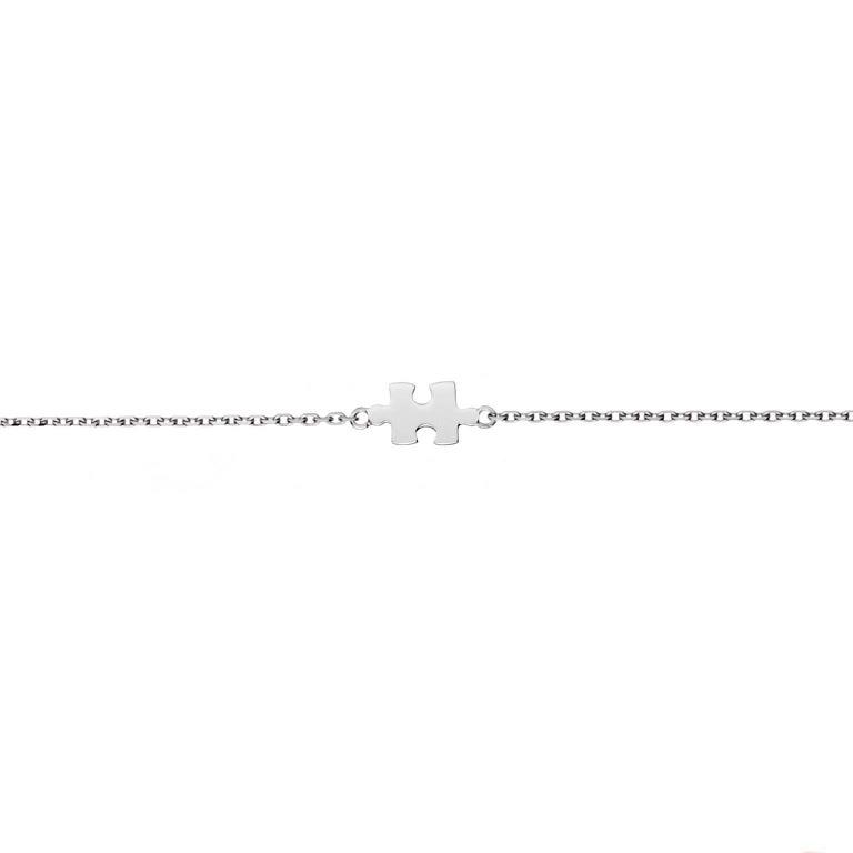 Akillis Mini Puzzle Charm Solo Bracelet 18 Karat White Gold on Gold Chain