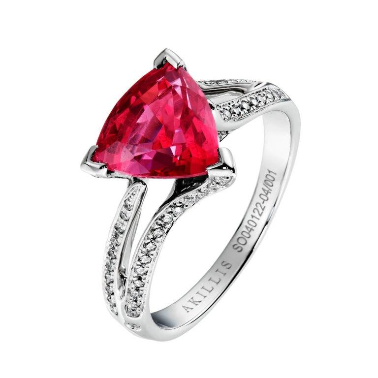 Akillis Bridal Engagement Ring 18 Karat White Gold Spinel White Diamonds For Sale