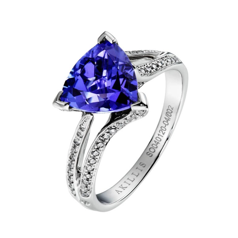 Akillis Bridal Engagement Ring 18 Karat White Gold Tanzanite White Diamonds For Sale