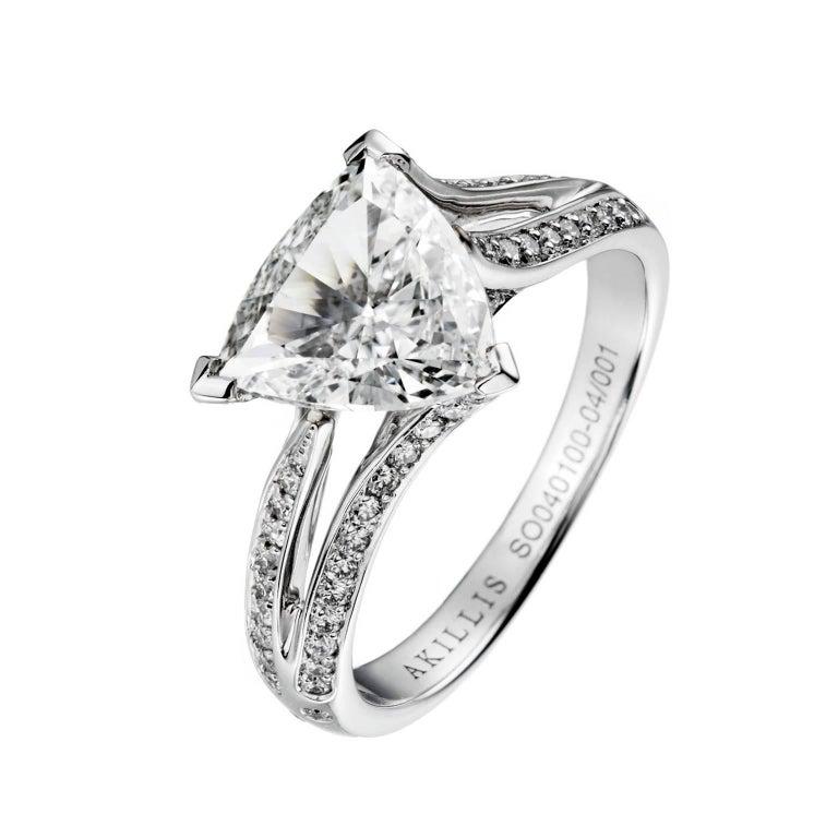Akillis Bridal Engagement Ring 18 Karat White Gold White Diamonds For Sale