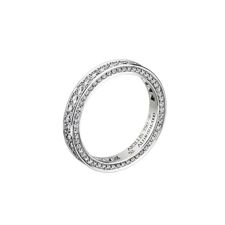Akillis Bridal Engagement Ring for Her 18 Karat White Gold White Diamonds For Sale